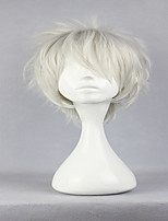 Top Grade Hitman Reborn Byakuran Style Silvery White Male Short  Curly Cosplay Wig