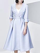 CHOCOLATONE Women's Casual/Daily Simple Trench CoatSolid V Neck  Sleeve Fall Blue Cotton / Nylon Medium