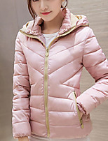 Women's Solid Pink / Black Padded CoatStreet chic Hooded Long Sleeve