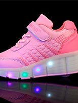 LED Light Up Shoes,Boy's Athletic Shoes Spring Summer Fall Winter Comfort PU Outdoor Casual Athletic Wedge Heel Buckle Black Pink