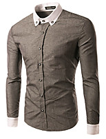 Men's Casual/Daily Simple Spring / Fall ShirtSolid / Patchwork Shirt Collar Long Sleeve  Cotton Medium/HOT SALE/