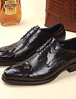 Черный / Бордовый-Мужской-Свадьба / Для офиса-КожаУдобная обувь-Туфли на шнуровке