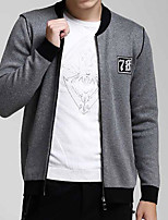 Men's Casual/Daily Simple Jackets,Solid Long Sleeve Fall / Winter Red / Black / Gray Cotton