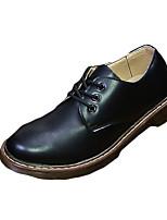 Черный-Мужской-Для прогулок / На каждый день-Кожа-На плоской подошве-Удобная обувь-Туфли на шнуровке