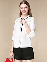 DOF Women's Casual/Daily Simple Fall BlouseSolid Stand Long Sleeve Beige Cotton Thin