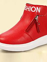 Girl's Boots Fall Winter Comfort Leatherette PU Dress Casual Flat Heel Zipper Black Pink Red Walking
