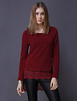 ADEAST Women's  Simple Long PulloverPatchwork Red Round Neck Long Sleeve Cotton Fall / Winter Medium Stretchy
