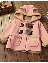 Girl's Casual/Daily Solid Trench CoatCotton Winter Brown / Pink