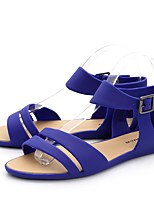Синий / Зеленый / Бежевый-Женский-На каждый день-ПВХ-На плоской подошве-Удобная обувь-Сандалии