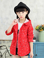 Girl Casual/Daily Solid Trench Coat,Cotton Fall Long Sleeve