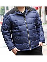 Пальто Простое Обычная Пуховик Мужчины,Однотонный На каждый день Полиэстер Пух белой утки,Длинный рукав Воротник-стойка Синий / Зеленый