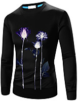 Men's Going out / Casual/Daily Simple / Active Regular HoodiesFloral Round Neck Long Sleeve Cotton Fall / Winter k266