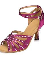 Customizable Women's Dance Shoes Satin Latin / Salsa Rhinestone Sandals Customized Heel Beginner / Professional / Indoor