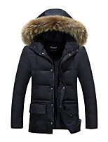 Men's Long Padded Coat,Simple / Street chic Plus Size / Casual/Daily / Formal Solid-Polyester Polyester Long Sleeve HoodedBlue / Black /