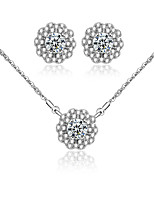 Jewelry Necklaces / Earrings Bridal Jewelry Sets Cubic Zirconia Wedding / Party / Daily / Casual 1set Women Silver