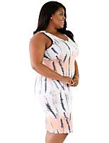 Women's Plus Size Tie Dye Print Fitted Tank Dress