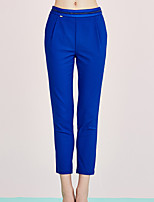 I'HAPPY Women's Solid Blue Skinny PantsSimple Spring / Summer