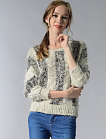 Women's Going out / Casual/Daily / Holiday Simple / Street chic Regular Pullover,Striped Beige / Black Round Neck Long Sleeve Polyester