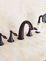Antique Roman Tub Waterfal/Handshower Included with Ceramic Valve Two Handles Five Holes for Oil-rubbed Bronze