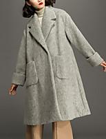 Женский На каждый день Однотонный Пальто Лацкан с тупым углом,Простое Осень / Зима Серый Длинный рукав,Шерсть,Толстая