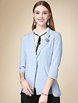 Damen Solide Einfach Arbeit Blazer,Gekerbtes Revers Herbst Langarm Blau Baumwolle Mittel