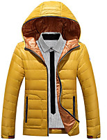 Men's Down Coat,Simple Plus Size / Casual/Daily Solid-Polyester White Duck Down Long Sleeve Blue / Red / Brown / Green / Yellow