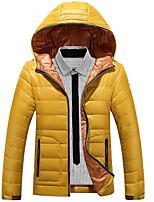 Пальто Простое Пуховик Мужчины,Однотонный На каждый день / Большие размеры Полиэстер Пух белой утки,Длинный рукавСиний / Красный /