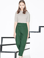 I'HAPPY Women's Solid Black / Green Chinos PantsSimple Spring / Summer