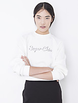 Women's Going out Street chic Short Hoodies,Letter White Round Neck Long Sleeve Polyester Fall Medium Micro-elastic