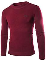Herren Standard Pullover-Lässig/Alltäglich Einfach Solide Rot Weiß Schwarz Grau Rundhalsausschnitt Langarm Kaninchen-Pelz Herbst Winter