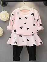 Girl's Casual/Daily Print Hoodie & Sweatshirt / Pants / Clothing SetCotton Spring / Fall Black / Pink / Red