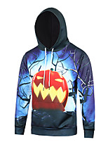 Men's Print Casual / Sport Pocket Halloween Pumpkin Print Long Sleeve Men 3d Hoodie
