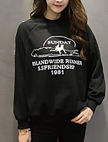 Women's Casual/Daily Vintage Regular HoodiesLetter White / Black Round Neck Long Sleeve Polyester All Seasons