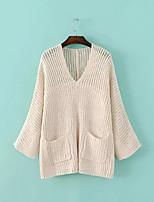 Damen Standard Pullover-Lässig/Alltäglich Einfach Solide Rot / Weiß / Grau V-Ausschnitt Langarm Polyester Herbst / Winter Mittel
