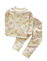 Boy's Casual/Daily Print Clothing Set / SleepwearCotton Spring / Fall Blue / Green / Pink / White