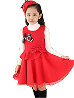 Girl's Casual/Daily Solid DressCotton / Rayon Winter / Spring / Fall Blue / Red