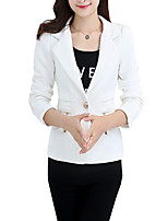 Women's Plus Size / Casual/Daily Simple All Seasons Blazer,Solid Notch Lapel Long Sleeve White / Black Medium
