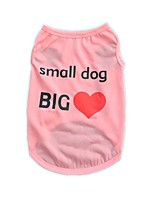 Cool Polyester Small Dog Big Heart Blue Pink Purple Green Vest Shirt Summer Dog Clothes for Pets