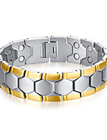 Муж. Браслеты-цепочки и звенья Нержавеющая сталь Позолота Мода обожаемый Магнитная терапия Гипоаллергенный Геометрической формы Золотой