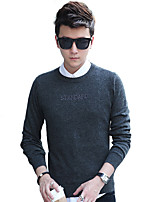 Men's Casual/Daily / Formal Simple Regular PulloverSolid Blue / Gray Round Neck Long Sleeve Cotton Fall