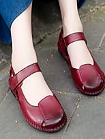Черный / Коричневый / Красный-Женский-На каждый день-Кожа-На плоской подошве-Удобная обувь-Сандалии