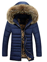 Men's Regular Padded Coat,Simple Casual/Daily Solid-Polyester Cotton Long Sleeve Hooded Blue