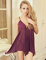 Women Lace Lingerie Nightwear,Sexy Solid-Thin Polyester Pink Purple