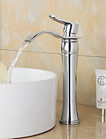 Contemporary Widespread Waterfall with Ceramic Valve Single Handle One Hole for Chrome , Bathroom Sink Faucet