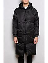 Пальто Простое Длинная На подкладке Мужчины,Однотонный На каждый день Нейлон Хлопок,Длинный рукав Черный