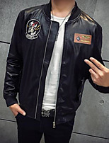 Men's Casual/Daily Simple Leather Jackets,Solid Stand Long Sleeve Fall / Winter Black Goatskin