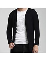 Men's Casual/Daily / Plus Size Simple Regular Cardigan,Solid Black Stand Long Sleeve Cotton Winter Medium Micro-elastic