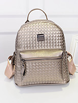 Casual Outdoor Backpack Women PU White Pink Gold Silver Black