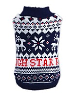Cat Dog Sweater Dog Clothes Winter Spring/Fall Snowflake Christmas New Year's Blue