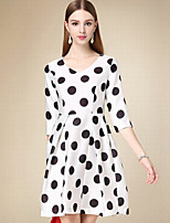 Women's Casual/Daily Simple A Line Dress,Polka Dot V Neck Above Knee ¾ Sleeve White Cotton Fall High Rise Inelastic Thin